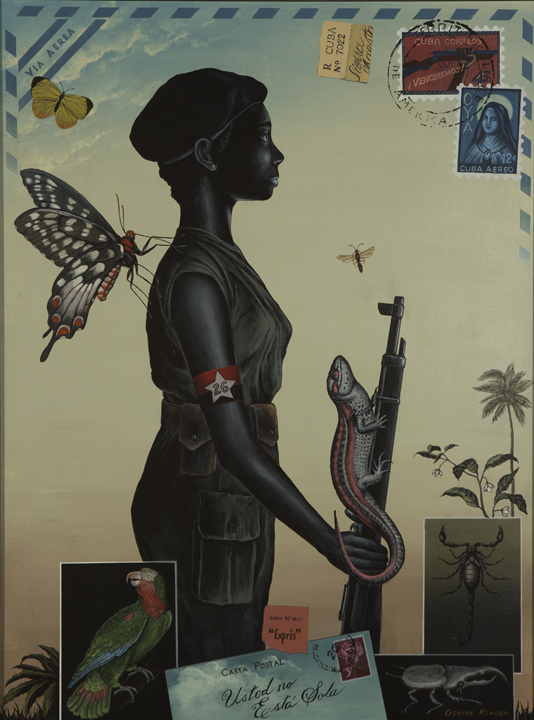 """Usted No Esta Sola (You Are Not Alone)  , 2013  acrylic on panel - 24 X 18 inches  The title--Usted no Esta Sola--means """"You are not alone."""" It can be looked at in different ways. I like the idea that young miliciana is surrounded by nature The large butterfly behind her to me represents an angel."""