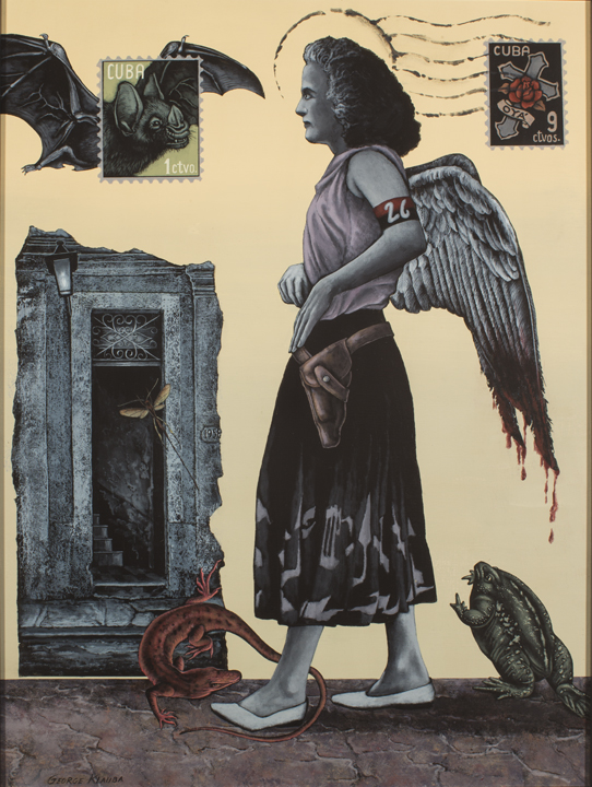 Oya's Courage As Santa Theresa Bleeds  , 2014  acrylic on panel - 24 X 18 inches  The rebel woman facing a flying bat with a bloated toad at her heels is synonymous with the Cuban conflict. She possesses the courage of her orisha Oya, but her angelic side is bloodied.