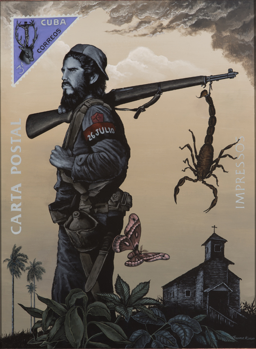 Ochosi - Lord of the Hunt  , 2014  acrylic on panel - 24 X 18 inches  The rebel, related to the Santeria god Ochosi (the Divine Hunter), carries a captured scorpion on his rifle representing Batista.