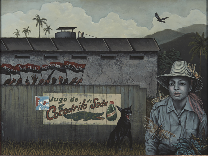 The Soda Pop Factory  , 2014  acrylic on panel - 18 X 24 inches  A scene in early Castro Cuba. The woman, immersed in swirls of passion and locusts, could be either the former owner of the factory or a new state owner.