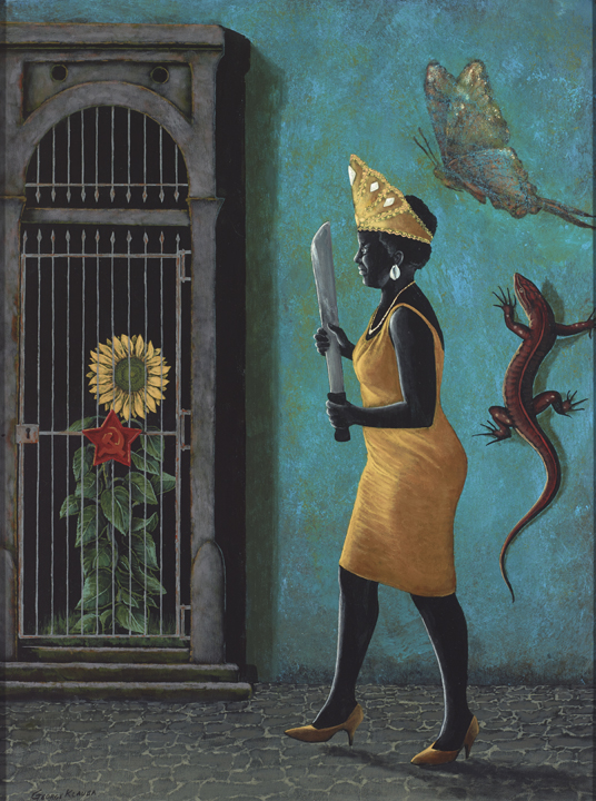 Oshun's Liberation of the Sun  , 2015  acrylic on panel - 24 X 18 inches |  SOLD   The Santeria, machete in hand, strides to the rescue of the imprisoned/caged sunflower, her attribute as Oshun.