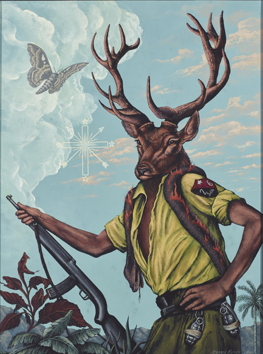 Ochosi's Purification of the Hunt  , 2015  acrylic on panel - 24 X 18 inches |  SOLD   Ochosi the Hunter is the bestower of justice. Here in a reversal, the animal becomes the hunter wearing a corpse of a burning snake as a talisman of evil.  The 26 Julio rebels fought back against the corrupt Batista regime by being the hunters instead of the hunted.