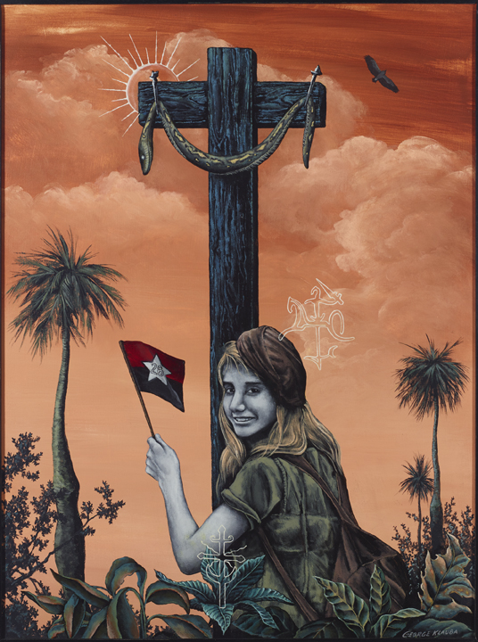 Redemption and the Girl From Lithuania  , 2015  acrylic on panel - 24 X 18 inches  The snake on the cross, an early Gnostic symbol, here represents the fallen Batista regime, with the new Cuba shining behind the cross. The girl, in Cuba with the Russians, dreams of redemption for Lithuania.