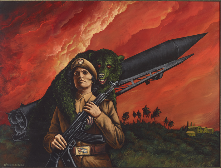 Octubre 26 1962  , 2015  acrylic on panel - 18 X 24 inches |  SOLD   26 Octubre 1962 was the most dangerous day of the missile crises. With the Russian bear in Cuba's corner, Fidel Castro believes a massive attack by the United States is coming. The whole world prays.