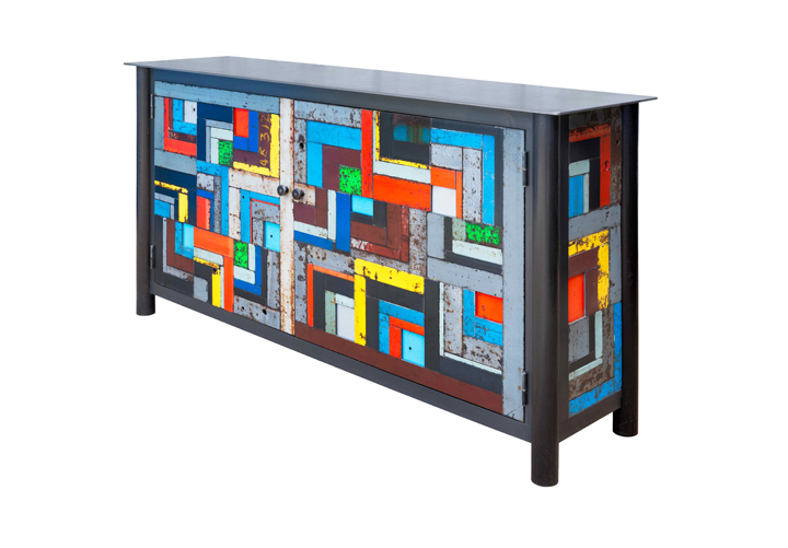 Two Door housetop Quilt Cupboard    hot-rolled and found painted steel h 36w 72d 18 inches (JR678)