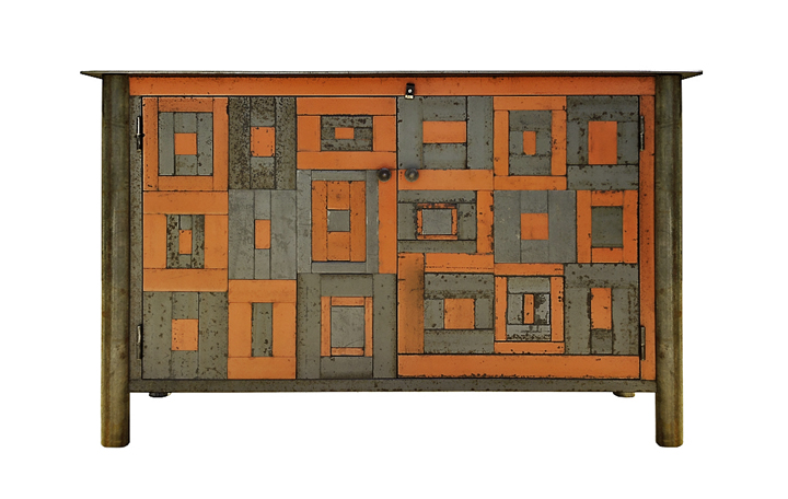 Two Door Housetop Quilt Cupboard    Steel, natural rust patina with found color panels h 35w 56d 16 inches (JR681)