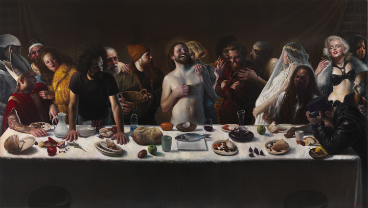 The Last Supper   oil on linenh 76 x 136 inches