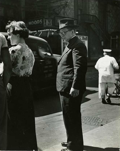 Observant Father, 1949    vintage silver gelatin print, 9 x 12 inches