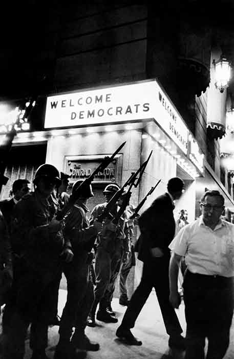 Welcoming Democrats to Chicago Convention, 1968    silver gelatin print, 14 x 11
