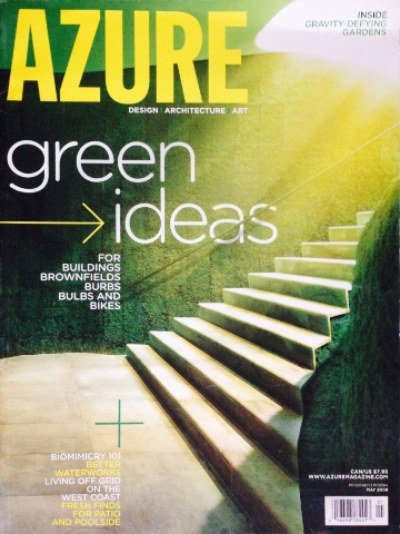 Oulu Bar & EcoLounge (designed by Dennie), was the featured in Azure Magazine, by Lloyd Alter, in the May 2008 Issue, pg. 75.
