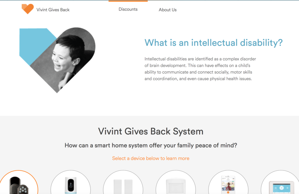 To see the entire site, visit  vivintgivesback.org .