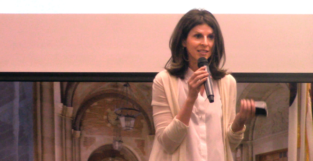 Amy Ziering addresses the audience in a Q and A after a screening of The Invisible War.