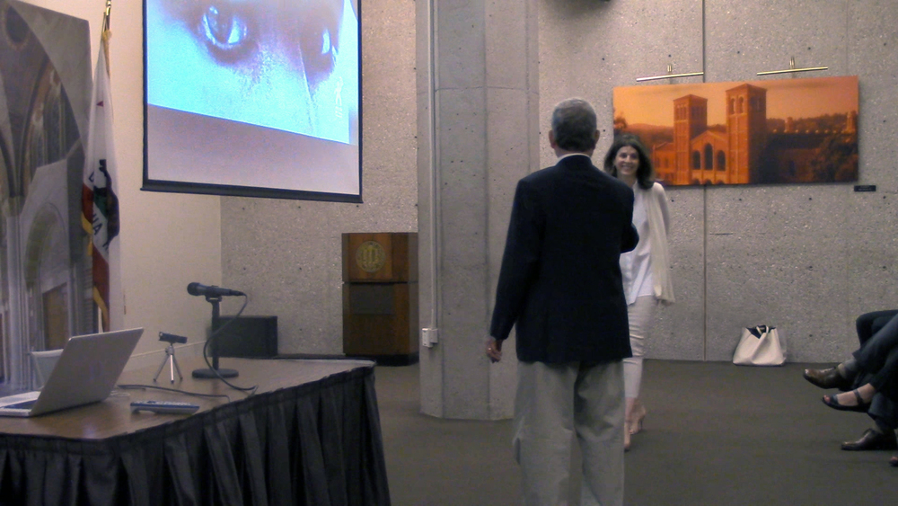 Peter Samuelson greets Amy Ziering at the UCLA James West Alumni Center.