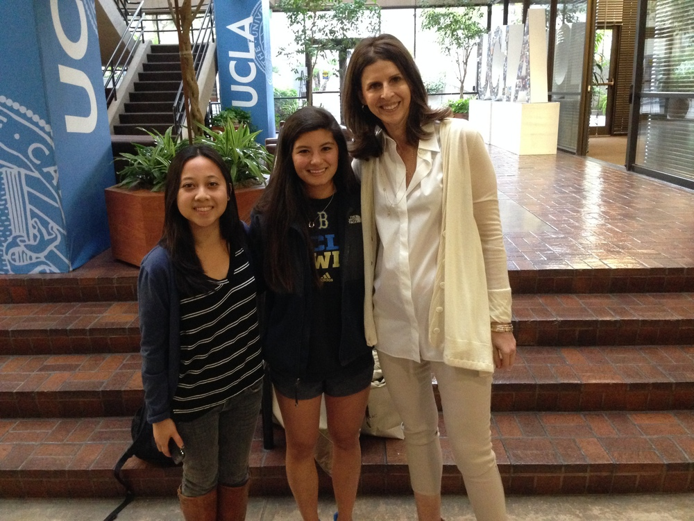 "From left to right, Patricia Ferido, Chloe Kojima, and Amy Ziering after Ziering's conversation at UCLA.  Patricia and Chloe are students in ""Documentary Production for Social Change: Mobility in Los Angeles,"" a course funded by ASPIRE."