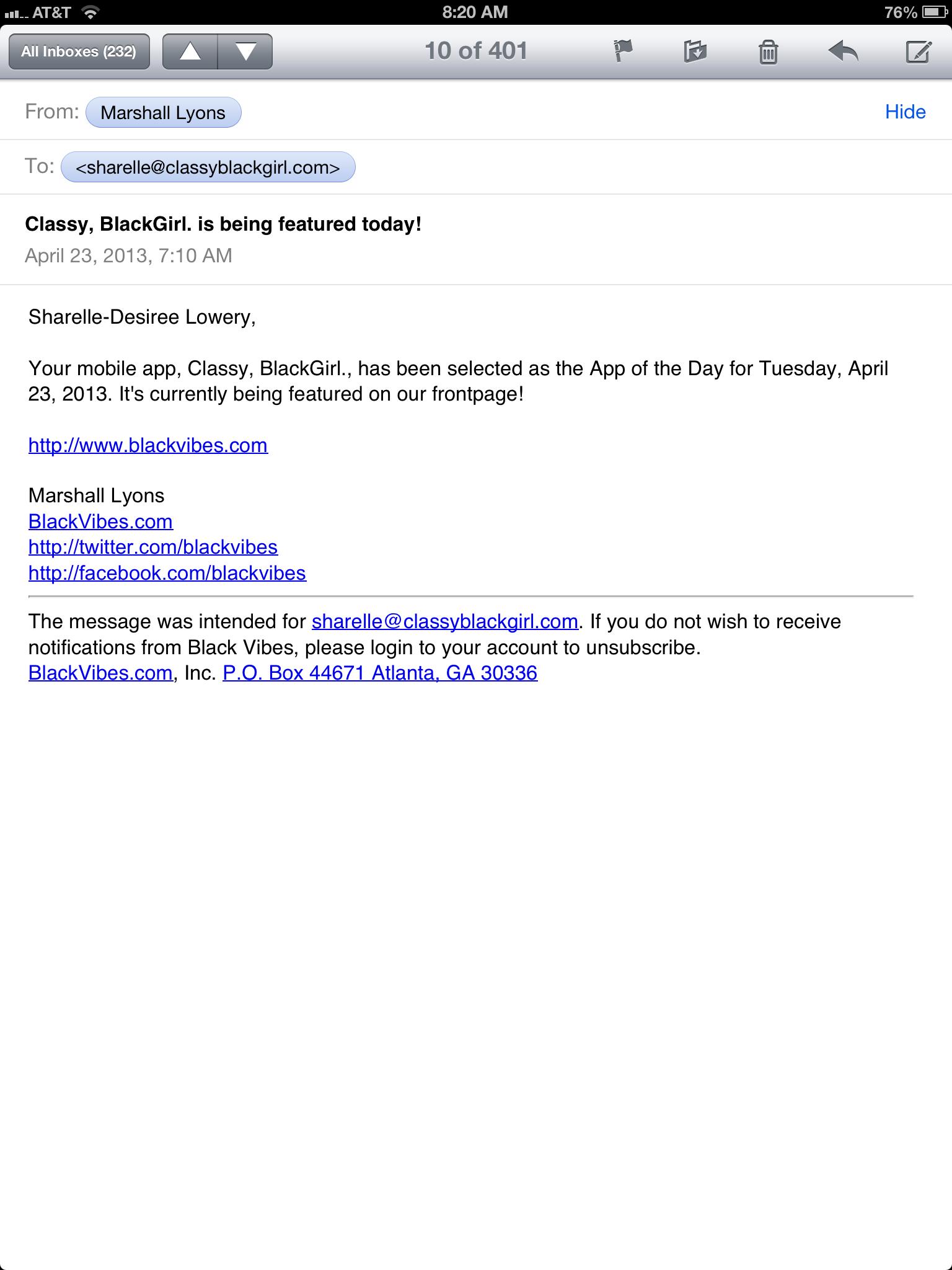 classy black girl Email App