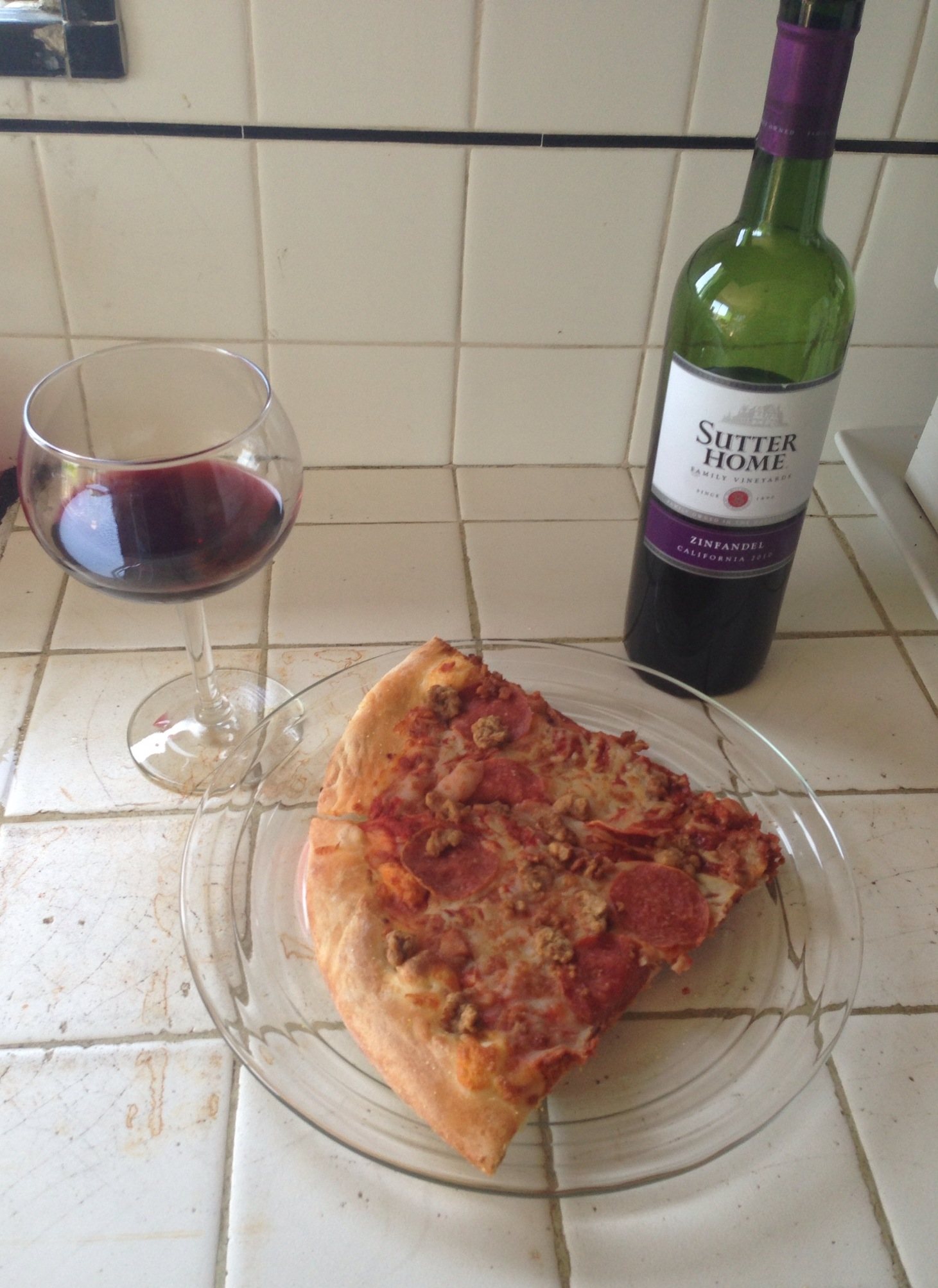 Having a Casual Slice of Pizza with my Wine!