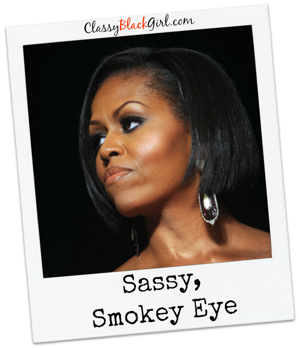 First Lady Michelle Obama the Bob and Good Heavy Smokey Eye USE