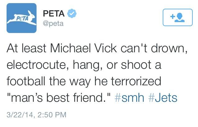 Michael Vick PETA New York Jets