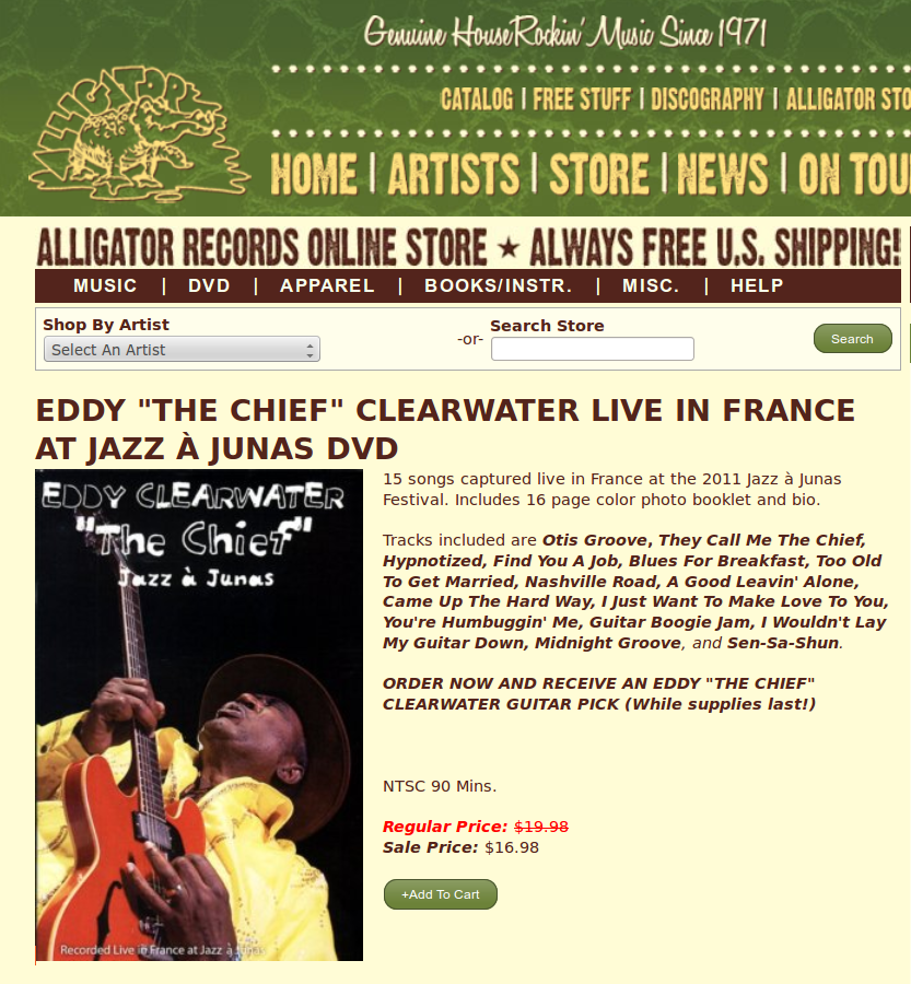 "Shoji's tune ""Otis Groove"" was featured on Eddy ""The Chief"" Clearwater Live In France At Jazz à Junas DVD"