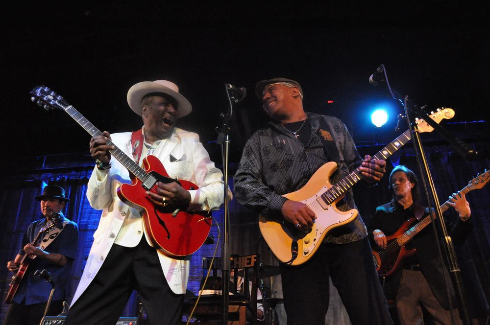 Shoji with Eddy Clearwater, Ronnie Baker Brooks and Dave Knopf  January 2014 by   Lynn Orman/Orman Music