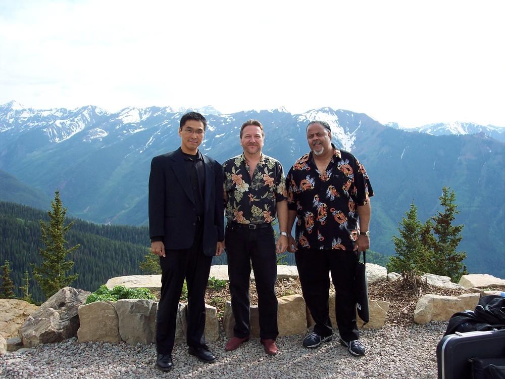 コロラド州アスペンにて Eddy Clearwater Band  左から Shoji, Mark Wydra, Merle Perkins