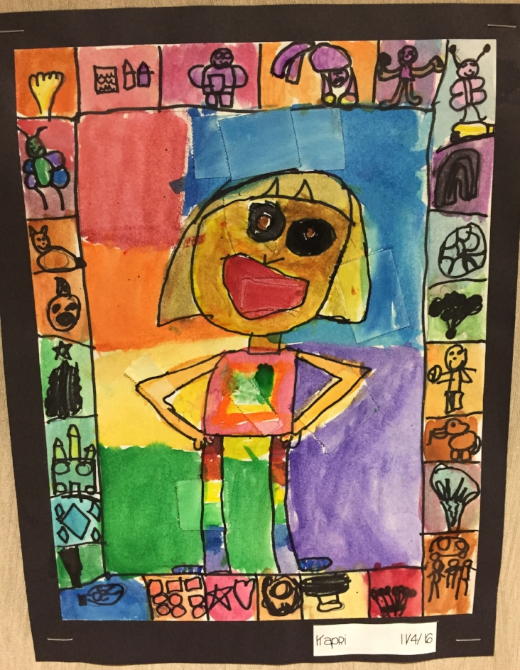The Full Picture of Me - Watercolor and human anatomy project for Grades 2-3. Students learn about different proportions of the body and how they relate to each other. They use self-expression in the border of the picture and learn different watercolor techniques.