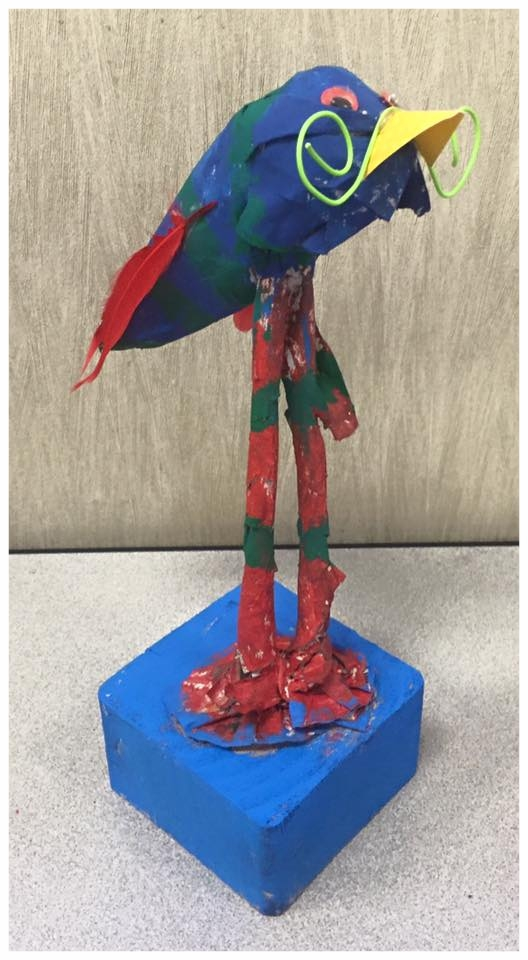 Birds of Fantasy - Sculpture project for Grade 3. Birds were constructed with foil, papier mache, and found objects. Students were studying birds for project based learning.