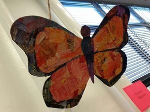 Texture Butterflies - Students explore the school to gather crayon textures throughout the building and school grounds. The textures are used to create watercolor resists and then for collages.