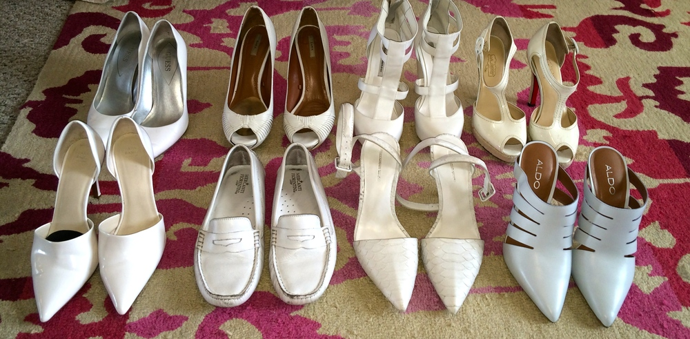Top row: Guess, Zara, Kathryn Amberleigh, Oh Deere Bottom row: Zara, DSW (?), Alexander Wang, Aldo (they say these are light blue but closer to white to me).