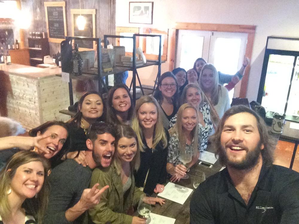 Bachelorette Party Selfie Stick Success@ Hilmy Cellars Fredericksburg, Texas