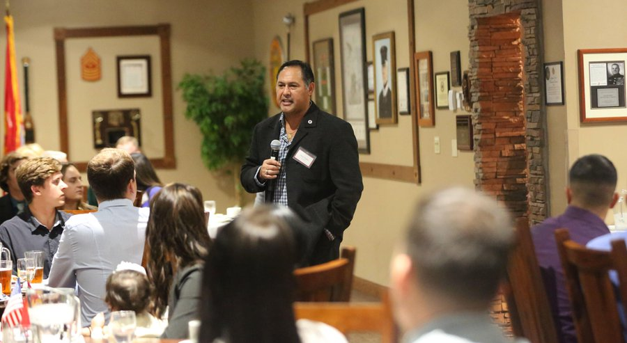 Paul Chapa, chairman and president of The Food Industry Serving Heroes Foundation spoke at a heroes' dinner the nonprofit organized at the Pacific Views Event Center. Marine Corps Photo by Pfc. Emmanuel Necoechea