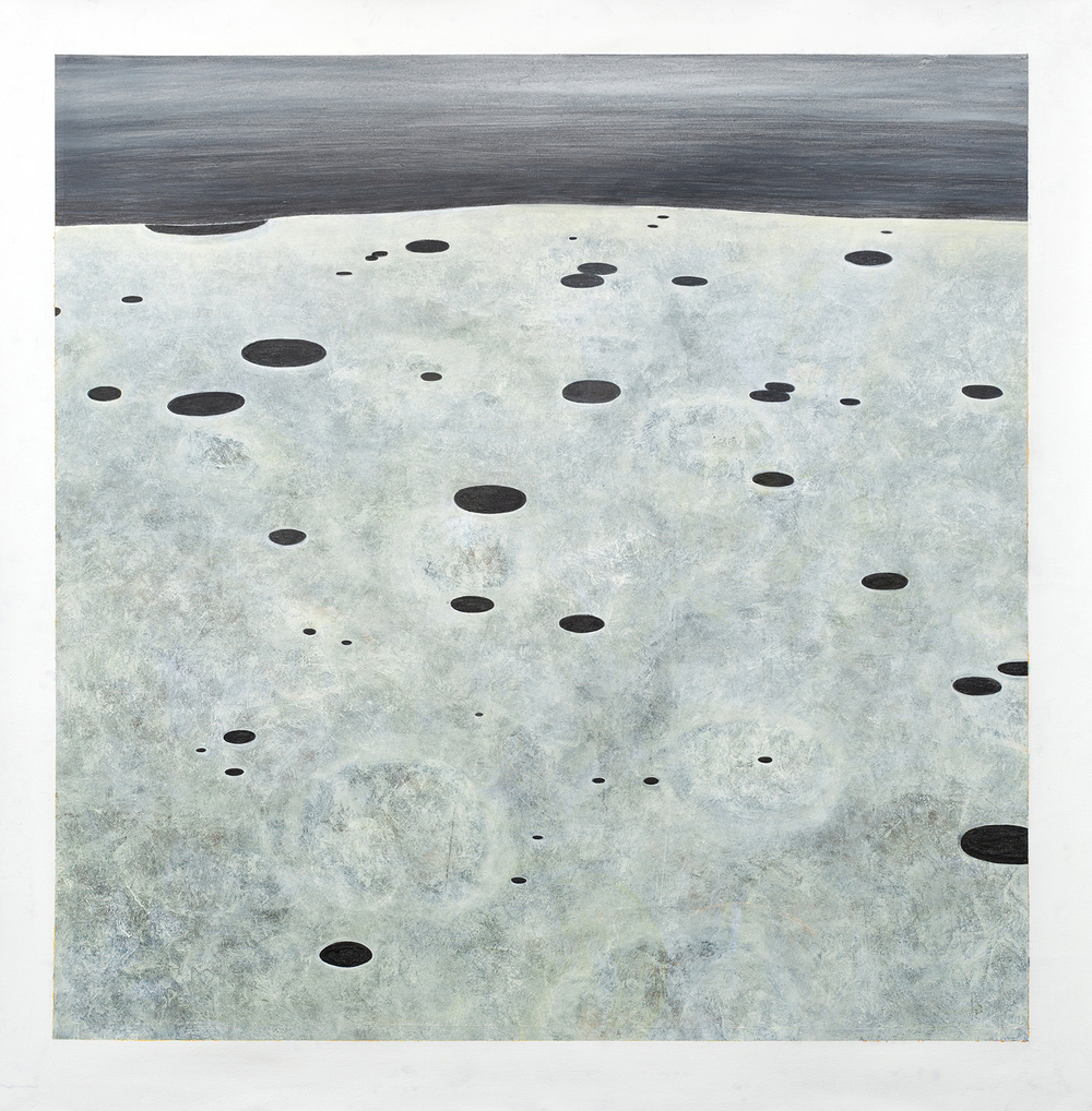 Large Drawing (moonscape)    Graphite, Gesso, Gouache,  72x72""