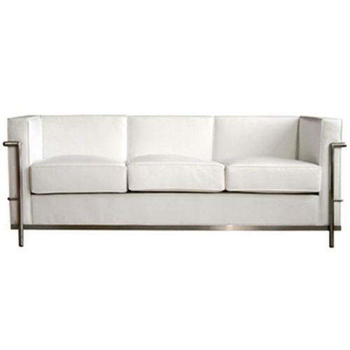 WHITE CUBED SOFA WITH STEEL FRAME — RentQuest