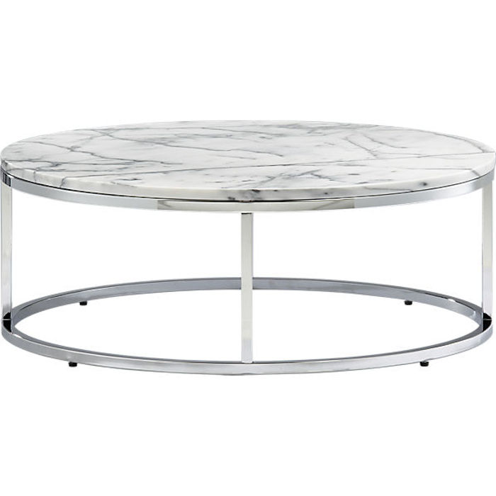 Nice ROUND CHROME COFFEE TABLE WITH MARBLE TOP