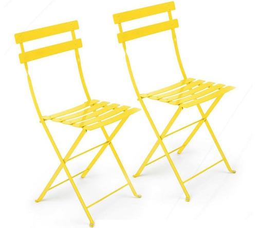 yellow metal cafe folding chair — rentquest