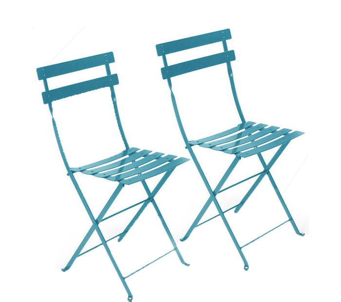 Charmant TURQUOISE METAL CAFE FOLDING CHAIR