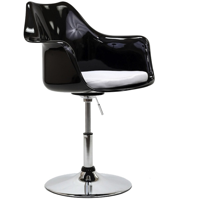 BLACK TULIP ARMCHAIR WITH ADJUSTABLE HEIGHT