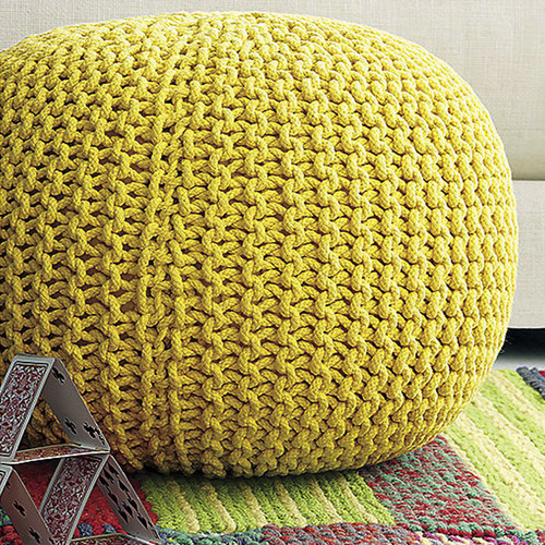 YELLOW KNITTED POUF RentQuest Fascinating Yellow Knit Pouf