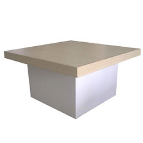 NATURAL WOOD TABLE TOP WITH WHITE BASE