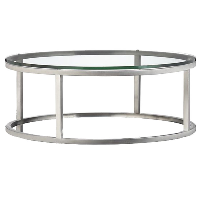 ROUND CHROME COFFEE TABLE WITH GLASS TOP