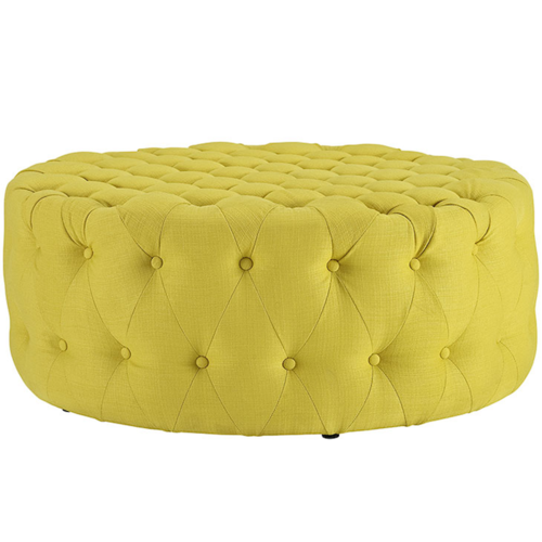 Adel Tufted Ottoman Yellow Fabric Rentquest