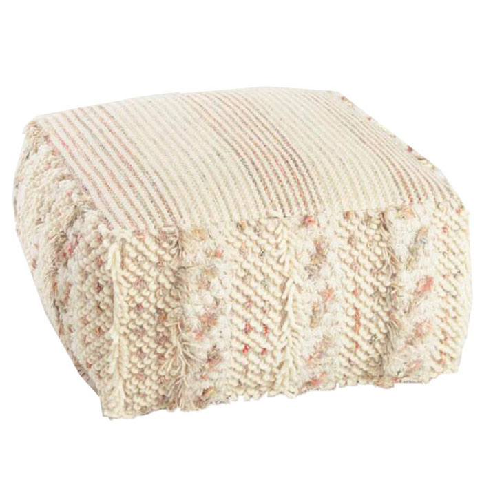 Miraculous Neutral Stripe Boho Pouf Rentquestnyc Gmtry Best Dining Table And Chair Ideas Images Gmtryco