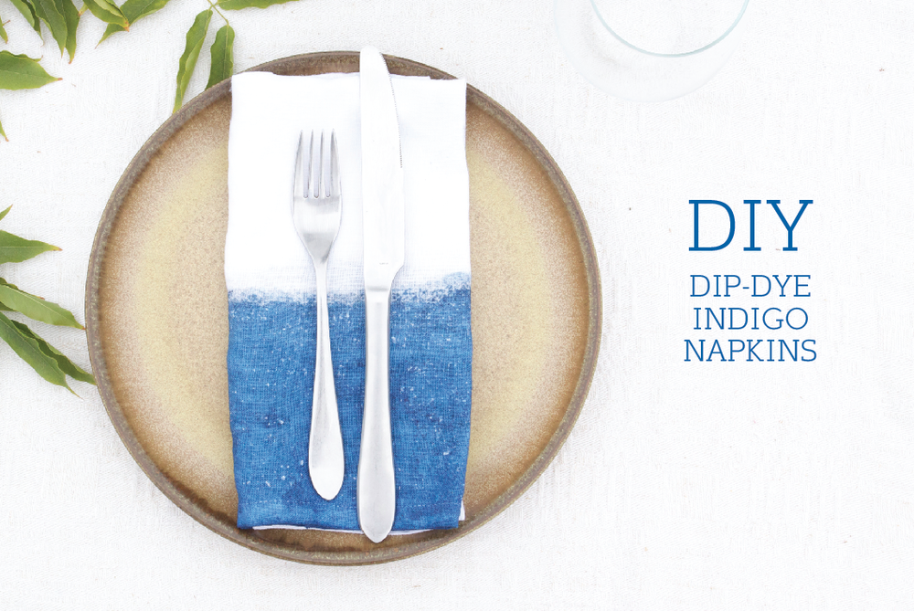 DIY Dip-Dye Indigo Napkins