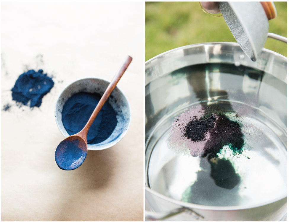 DIY Dip-Dye Indigo Napkins - Mixing the Dye