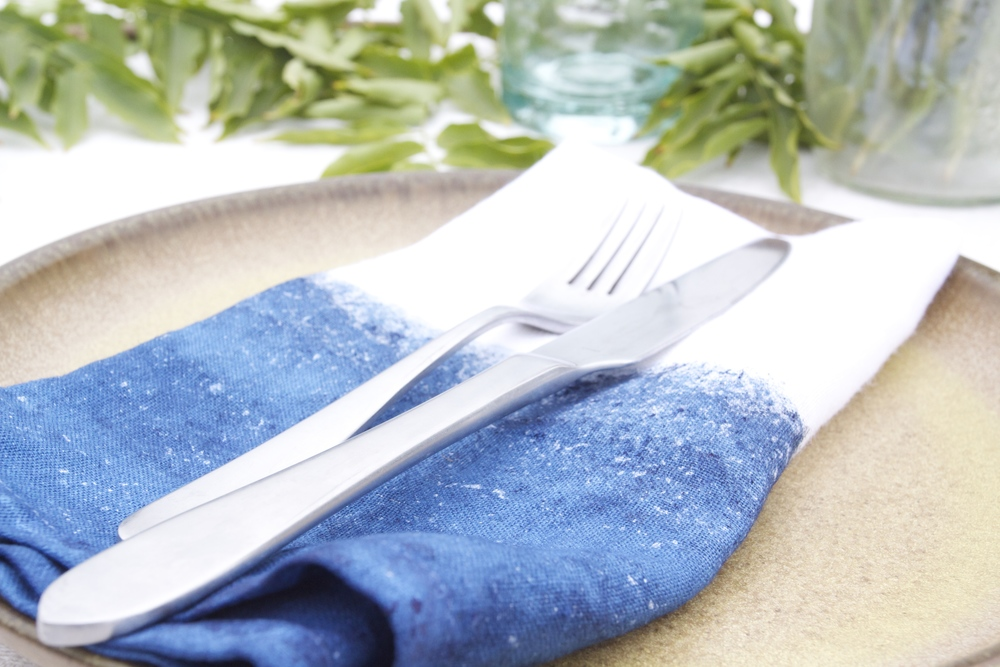 DIY Dip-Dye Indigo Napkins - Table Setting