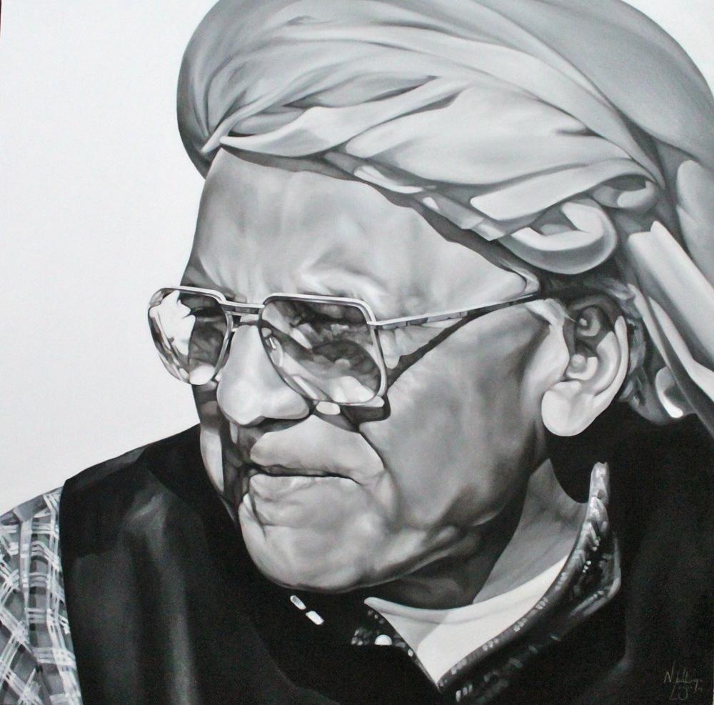 Shri O. P. Jindal 4'x4' Oil on Canvas, 2014