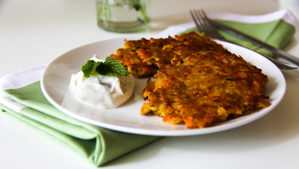 Spiced Kohlrabi & Carrot Fritters with Mint Yogurt