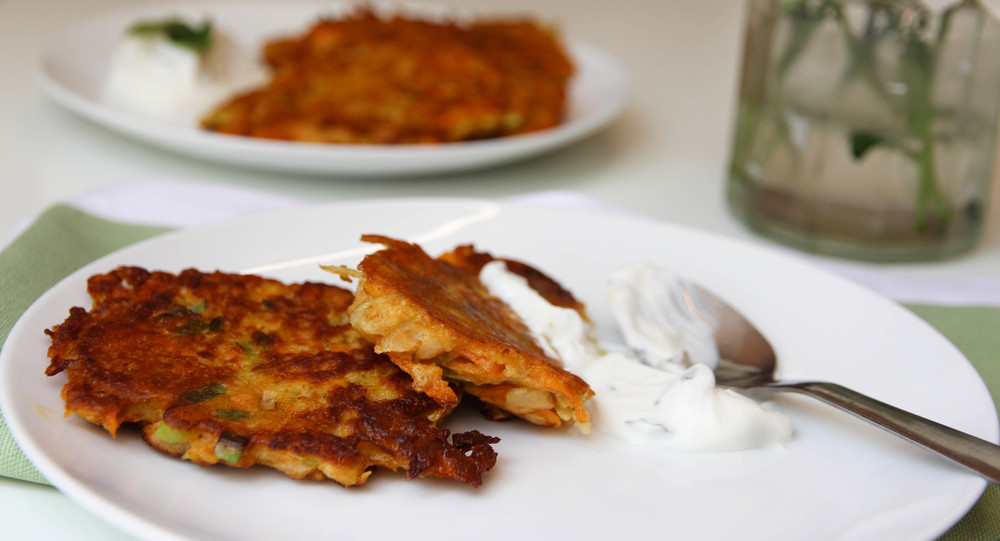 Spiced Kohlrabi& Carrot Fritters with Mint Yoghurt