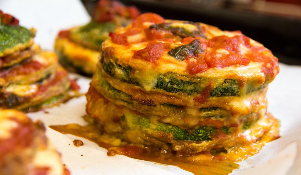 Zucchini, Mozzarella & Tomato Stacks