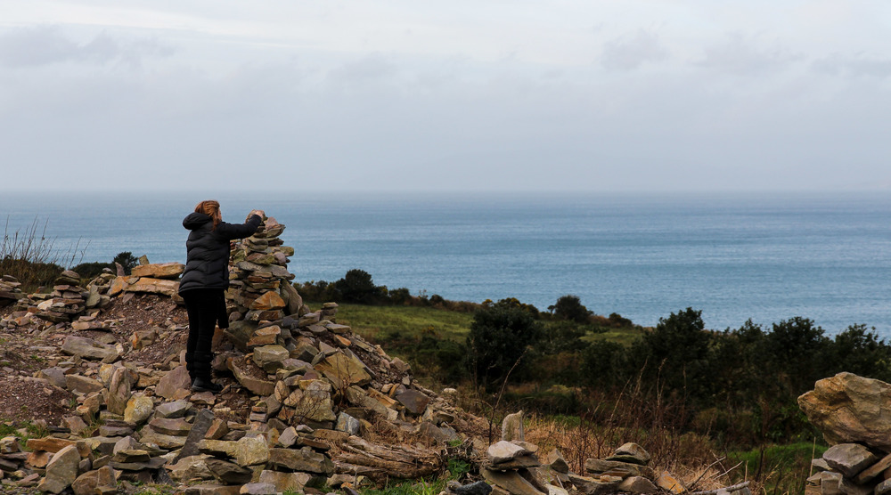 Mum stacking stones somewhere on the Ring of Kerry.